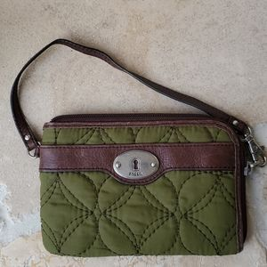 Fossil Green Canvas and Leather Trim Wristlet